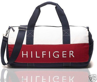8dc649e4 ORIGINAL & NEW TOMMY HILFIGER LARGE DUFFLE GYM BAG | NAVY, RED, WHITE