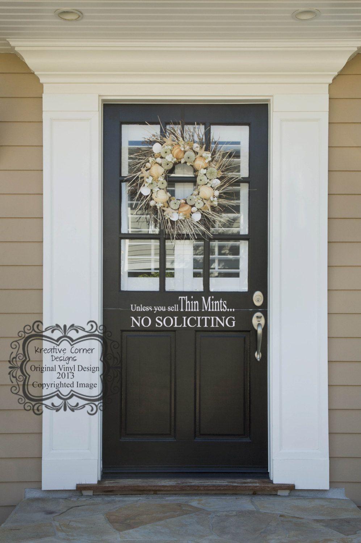 Vinyl Lettering Front Door Decal Glass Door Traditional Decor No Soliciting Decal