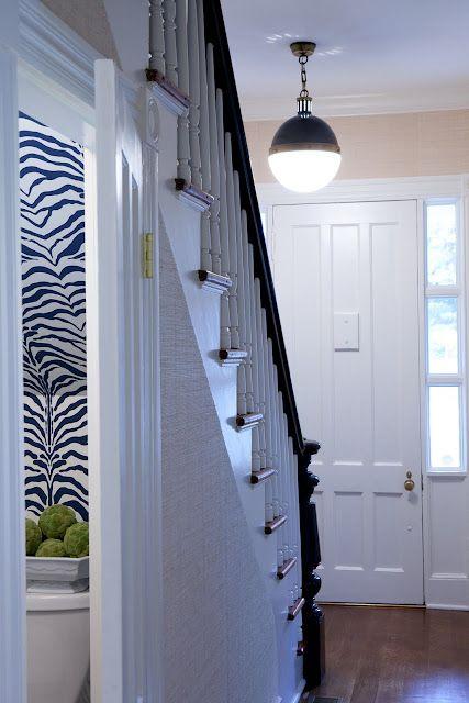 zebra wallpaper powder room  phillips deveer interiors