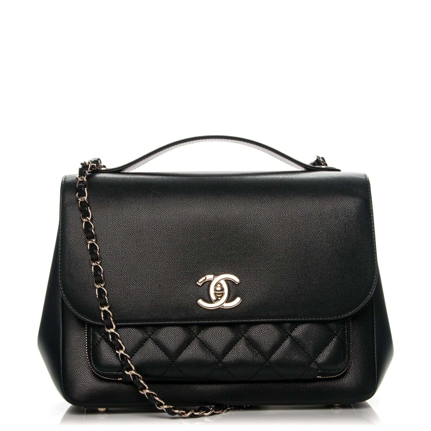 113ff2dd826040 This is an authentic CHANEL Caviar Quilted Large Business Affinity Flap in  Black. This sleek