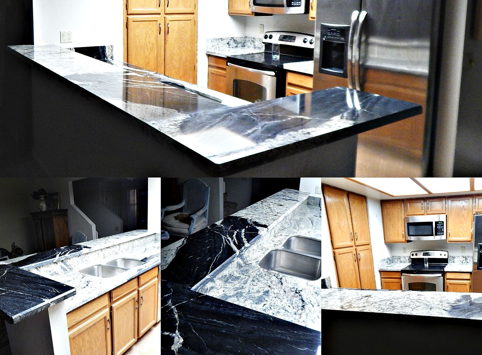 Copacabana Granite Countertop Remodel With Bevel Edge And 60/40 Stainless  Steel Sink. Truly