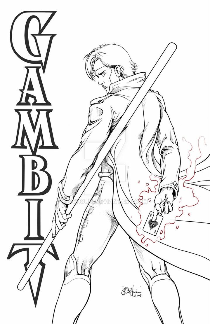 Gambit Line Art By Oshouki Avengers Coloring Pages Comic Book Artwork Blank Coloring Pages