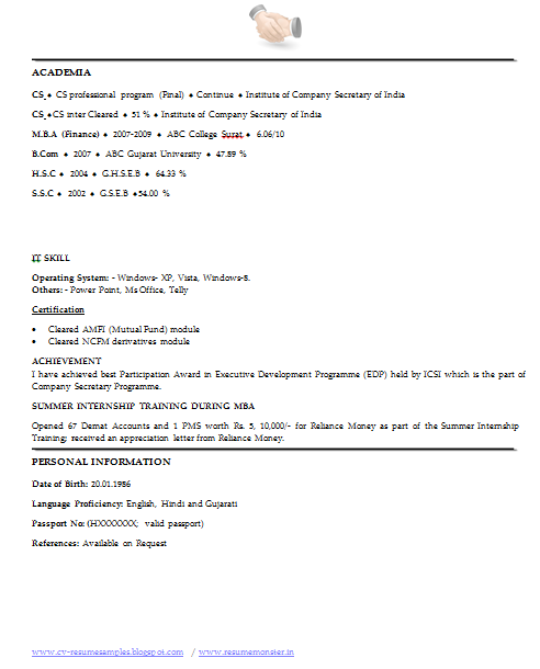 best resume format for company secretary  page 3