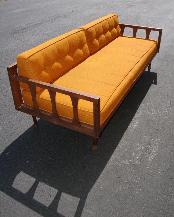 Mid Century Modern Danish Style Orange Sofa 1960s   For the Home ...