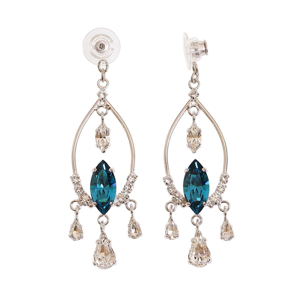 Statement chandelier earring jacket set with Swarovski crystals in aqua  blue and diamond colours. Handmade 950eef12a3