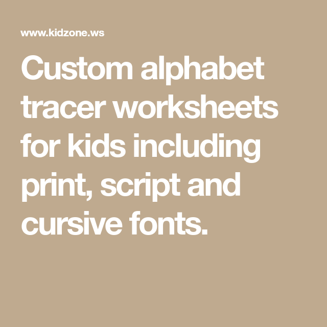 Custom alphabet tracer worksheets for kids including print ...