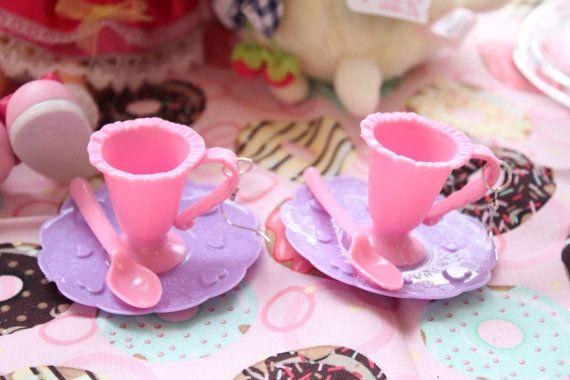 Fairy Kei Tea Cup Dangle Earrings super tiny