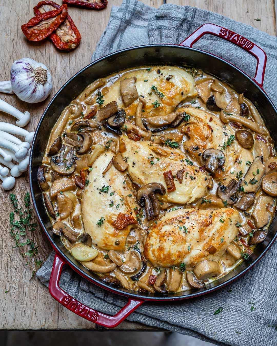 Easy Creamy Chicken Mushroom Recipe Keto 7 Chicken Mushroom Recipes Mushroom Recipes Stuffed Mushrooms