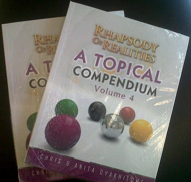 Enjoy a Complete,nourishing diet of God's Word every day with Rhapsody of Realities Topical Compendium Volume 4, a timely compilation of God's words, suitable for furnishing God's children unto good works.Hurry grab your copies while stock last!!!! God Bless you. Loveworld publishing Ministry / Christ Embassy  0113260971/0718435398