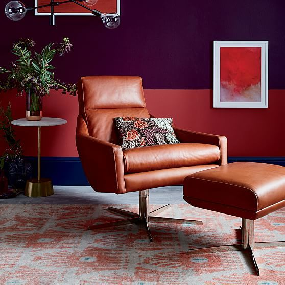 Austin Leather Swivel Chair Chestnut Polished Nickel At West Elm
