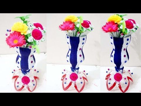 DIY Plastic Bottle Flower Vase How To Make With Waste Material