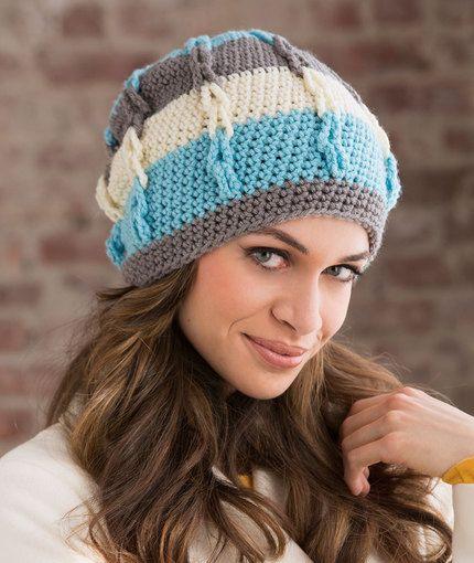 Stripe It Slouchy Hat Free Crochet Pattern in Red Heart Yarns ...