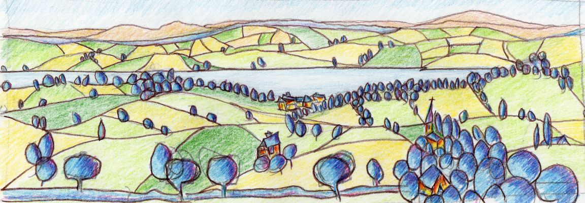 View of the River Exe in Devon by Simon Bramble Drawings