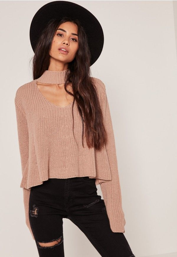 nude choker neck chunky cropped sweater | Daily trends | Pinterest ...