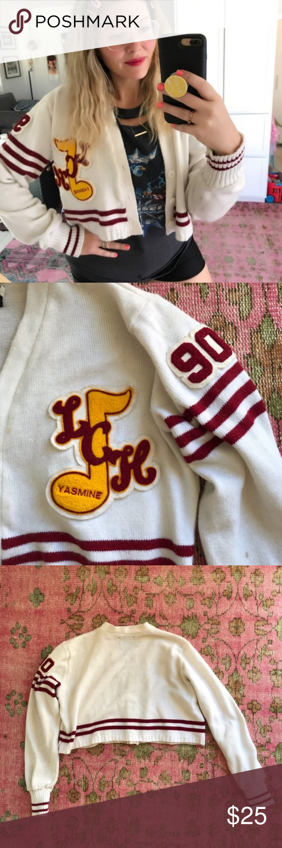 Vintage Varsity Cheerleader Sweater Jasmine The cutest sweater! It's cropped and has patches. Jasmine and number 90.  Label- Dehen Knitting Portland Made In USA  Size- Large  18 inches long  26 inch-sleeve   Condition- Some spots and stains but it's so cute who cares!  All sales final  Vintage sold as is Vintage Sweaters Cardigans #18inchcheerleaderclothes Vintage Varsity Cheerleader Sweater Jasmine The cutest sweater! It's cropped and has patches. Jasmine and number 90.  Label- Dehen Knit #18inchcheerleaderclothes