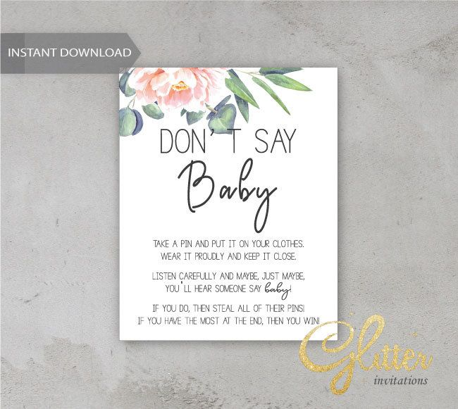 Greenery girl baby shower, Printable Diaper Pin, Clothes Pin Game, Printable girl Dont Say Baby, cy038