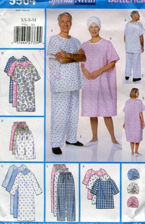 FREE US SHIP Butterick 5504 Special Needs Hospital Gown Turban Hat ...