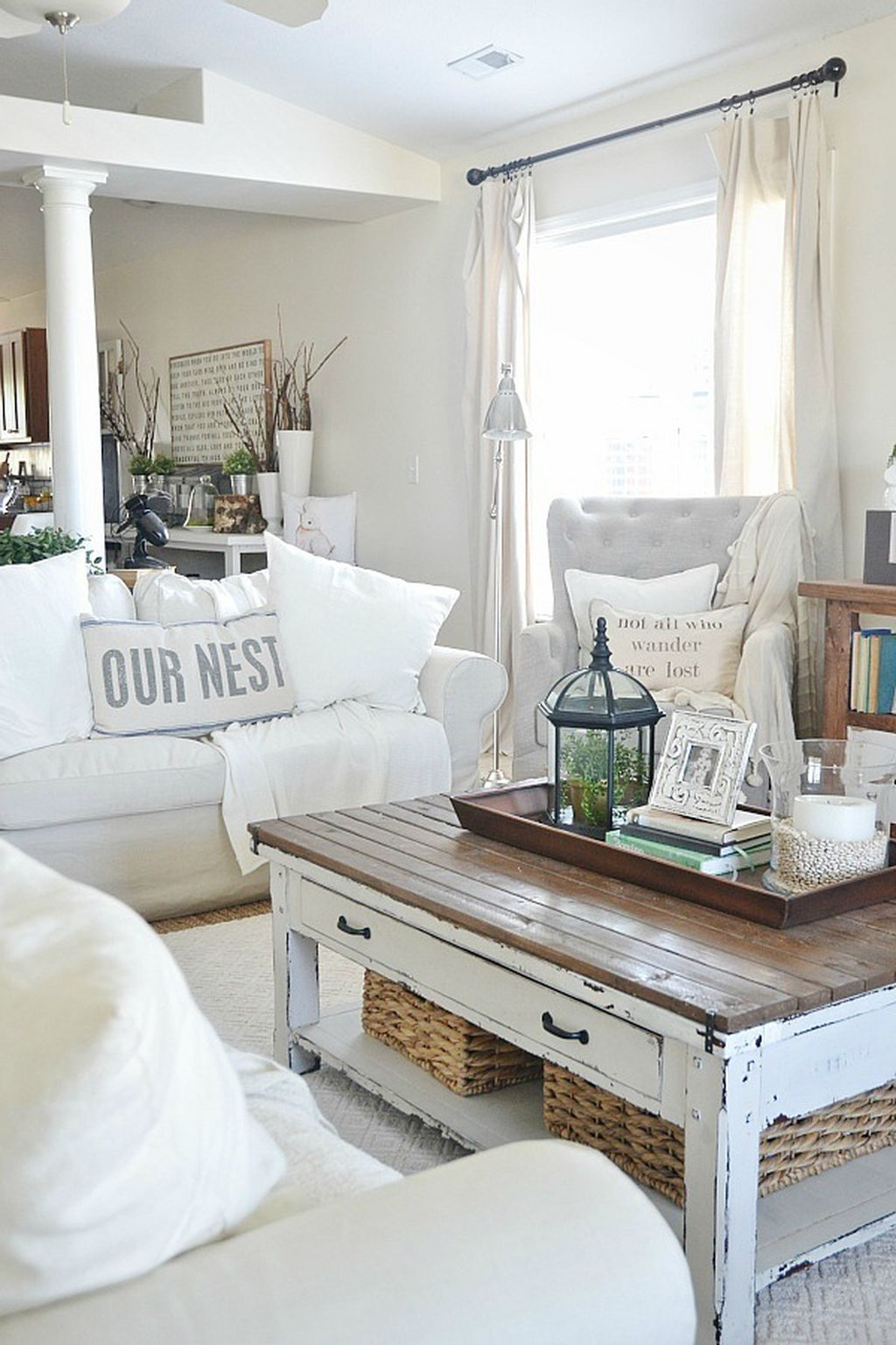 70 Beautiful White Shabby Chic Living Room Decoration Ideas | Shabby ...
