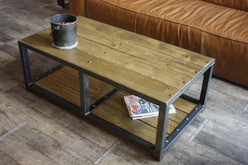 Meuble acier bois industriel recherche google loft pinterest industrial furniture - Table basse metal industriel loft ...