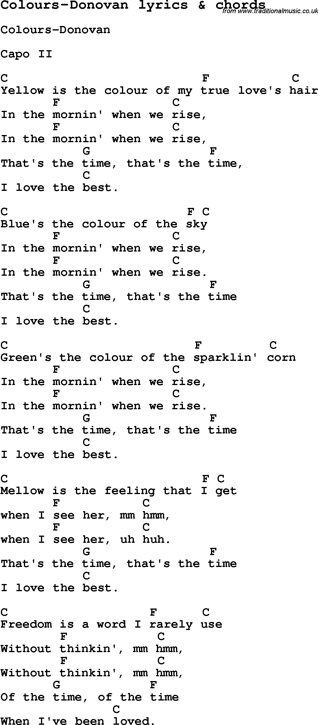 Love Song Lyrics For Colours Donovan With Chords For Ukulele