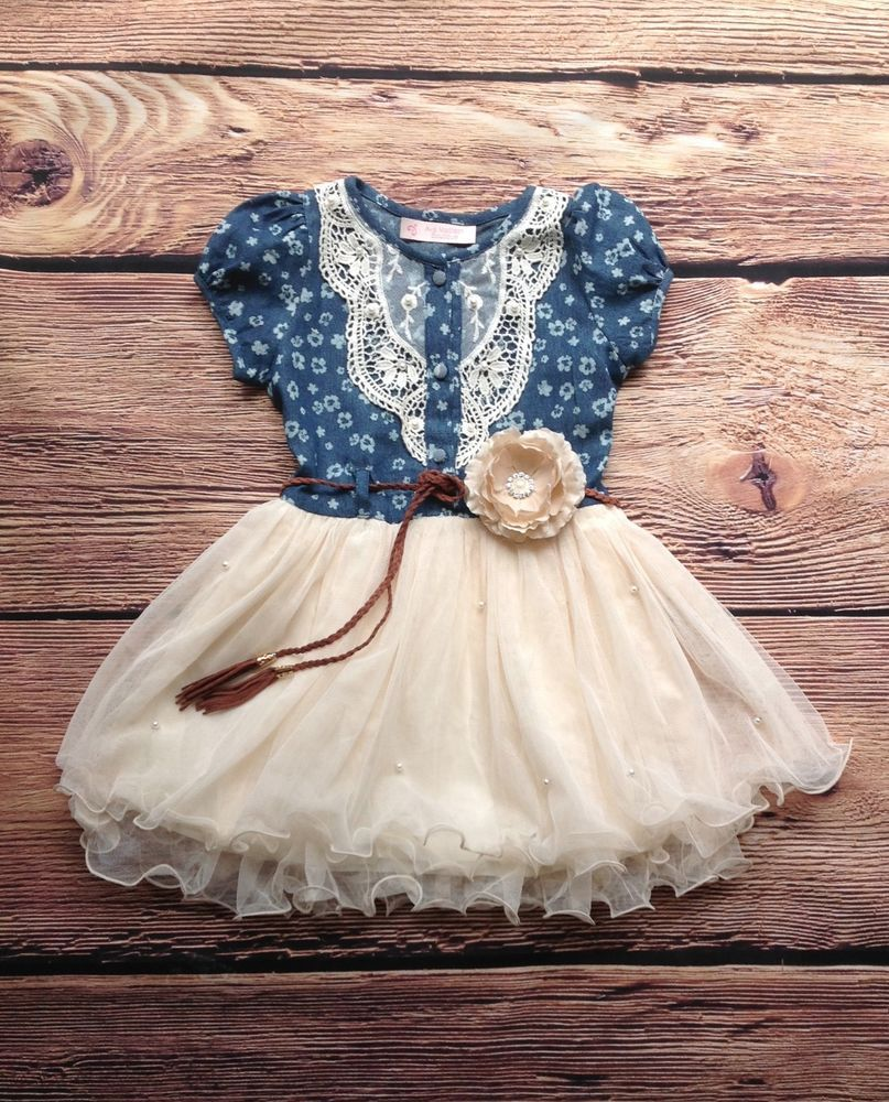 Baby Blue Western Flower Girl Dresses