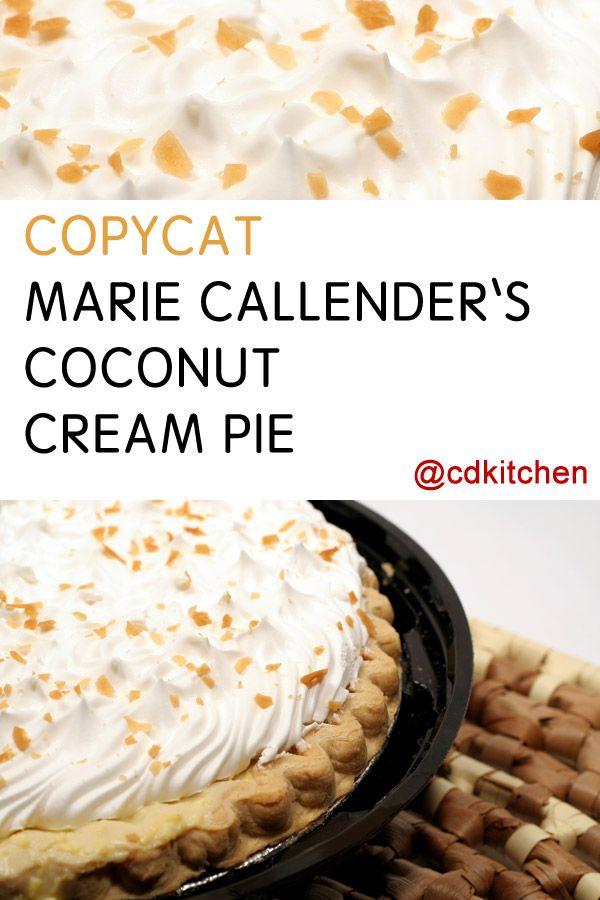 Marie Callender's Chocolate Bottom Coconut Cream Pie Recipe | CDKitchen.com #sugarcreampie