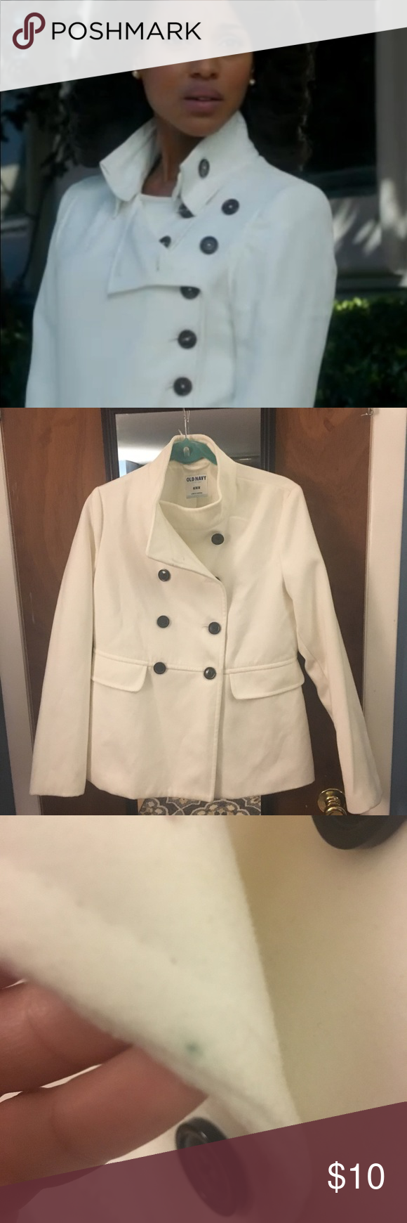 Olivia pope inspired white coat old navy Very Olivia-esque one small stain on inside of the jacket pictured - some slight discoloration last pic inside jacket from jeans - nothing on the outside ! Old Navy Jackets & Coats