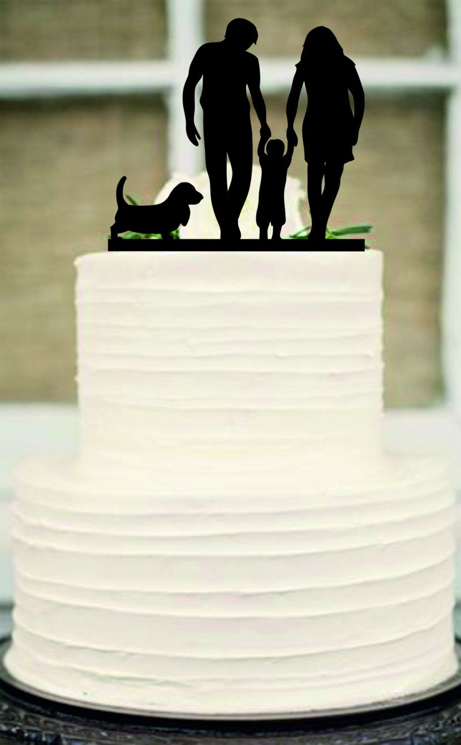 Silhouette Wedding Cake Topper, Bride and Groom and little boy a dog ...