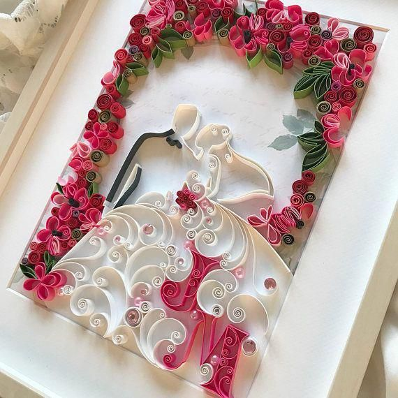 Original 3D Quilling Bride and groom Unique Quilling Paper #uniquehobbies