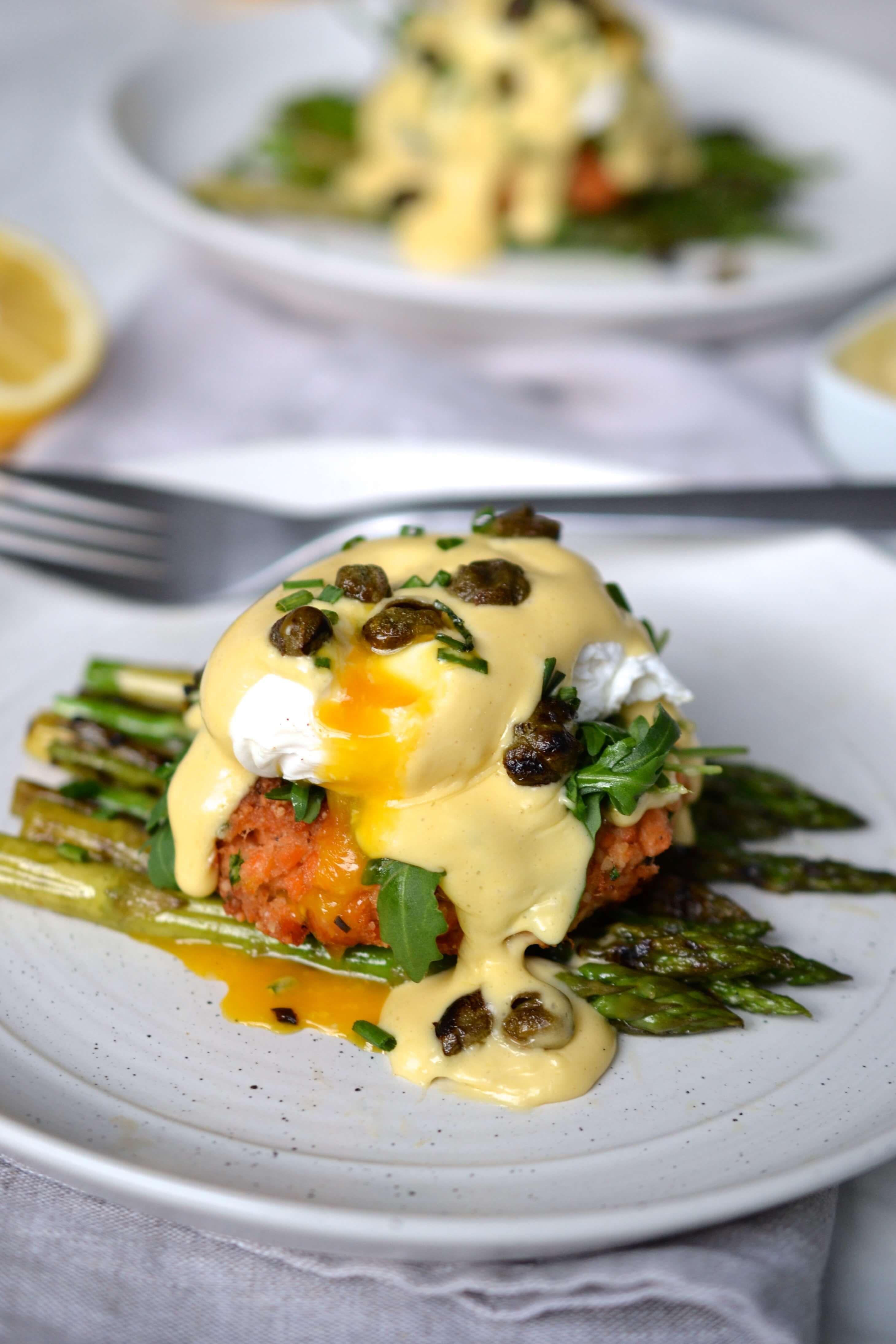 Salmon Cake Eggs Benedict with Lemon Hollandaise & Crispy Capers | Every Last Bite -  Salmon Cake E