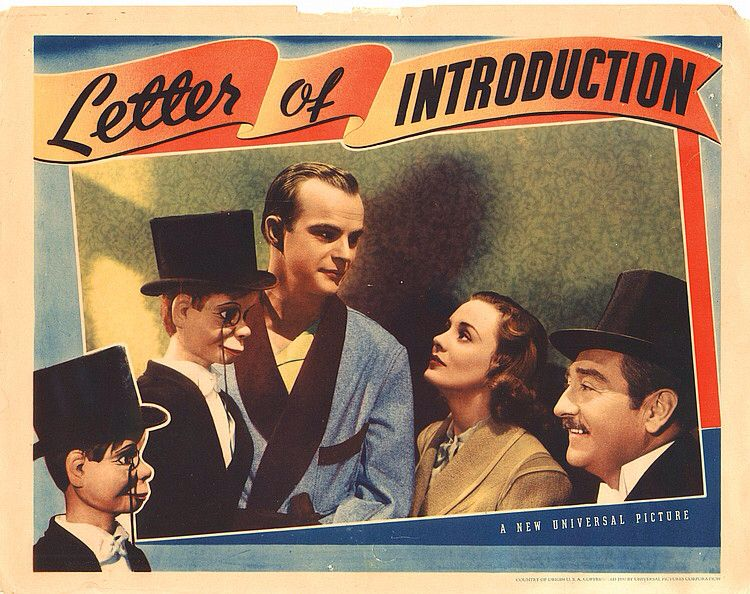 Lobby Card from the film Letter Of Introduction Film Lobby Cards - letter of introduction