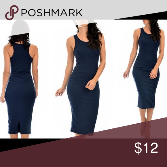 Sexy navy Bodycon Midi Dress M Figure-hugging dress with a hint of stretch Racerback top Below-the-knee midi hemline Small back slit  Material: 83% polyester, 14% rayon, and 3% spandex Machine wash in cold water; hang or line dry Dresses Midi