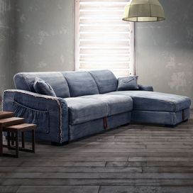 Denim Upholstered Sectional Sofa With Under Seat Storage Product Sofaconstruction Material Fabric And Woodcolor Bluefeatures Hidden
