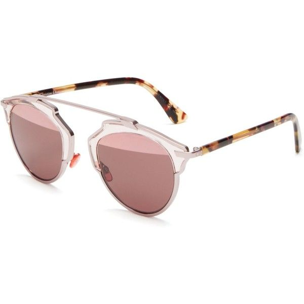475726d3ff2a Dior So Real Mirrored Sunglasses ($595) ❤ liked on Polyvore featuring  accessories, eyewear, sunglasses, pink havana, mirror sunglasses, mirror  glasses, ...