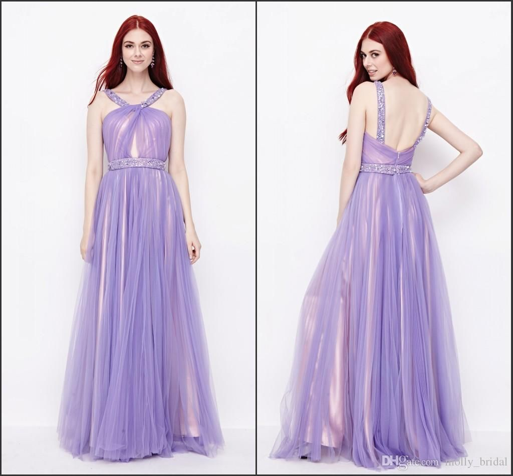 Chic 2016 Prom Dresses Long Lilac Tulle Nude Under Prom Dresses From ...