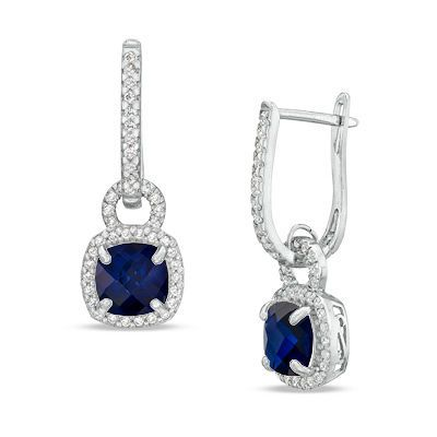Zales Emerald-Cut Lab-Created Blue and White Sapphire Frame Drop Earrings in Sterling Silver WGlzC