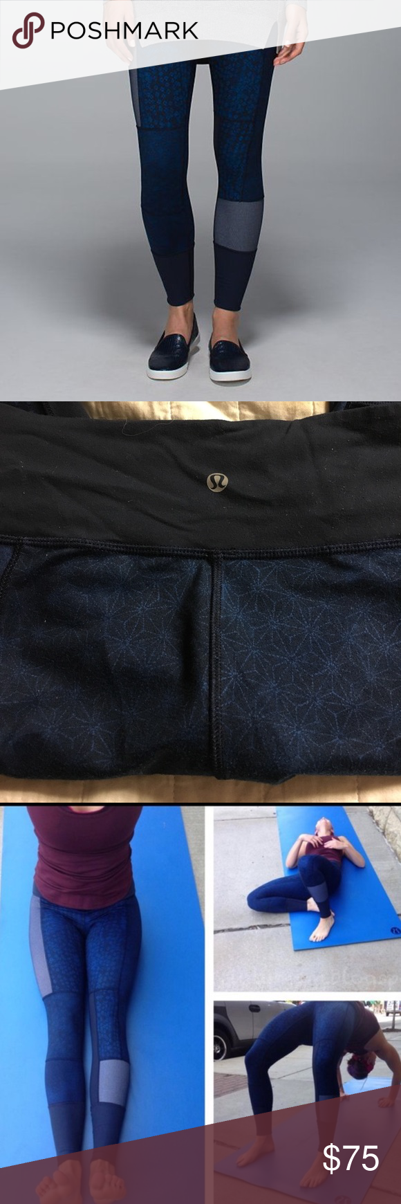 Wunder Under Blue Patchwork Sashiko Leggings Blue wunder under comfy leggings. I love them because I wear them to the gym or like jeans with a cute top. Full length. Regular thickness of wunder under legging. lululemon athletica Pants Leggings