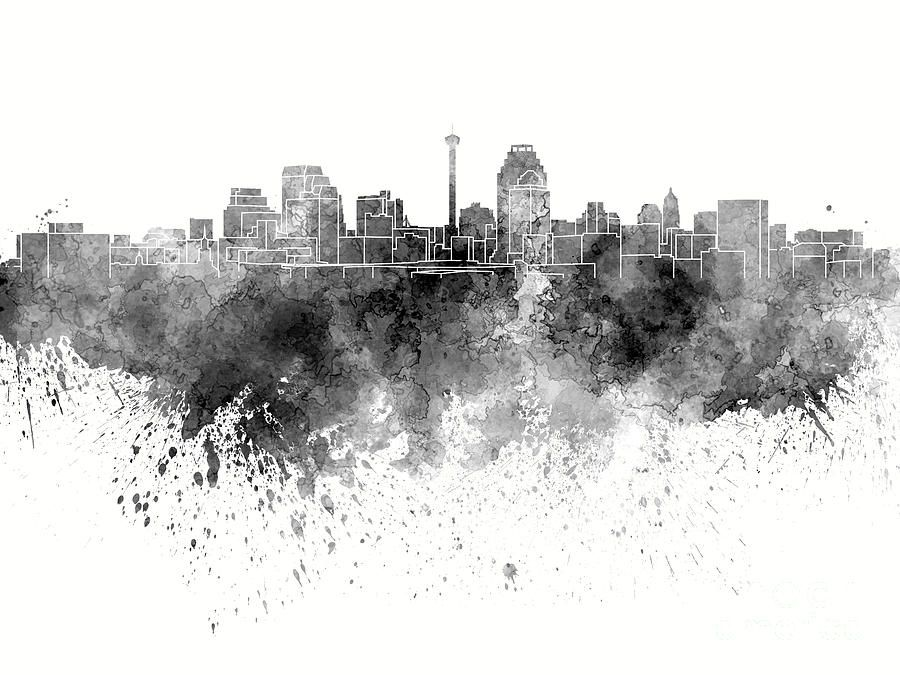 San antonio skyline in black watercolor on white background pablo san antonio skyline in black watercolor on white background pablo romerog 900675 altavistaventures Image collections