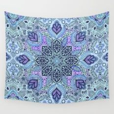 Navy Blue Mint And Purple Boho Pattern Wall Tapestry Tapestry