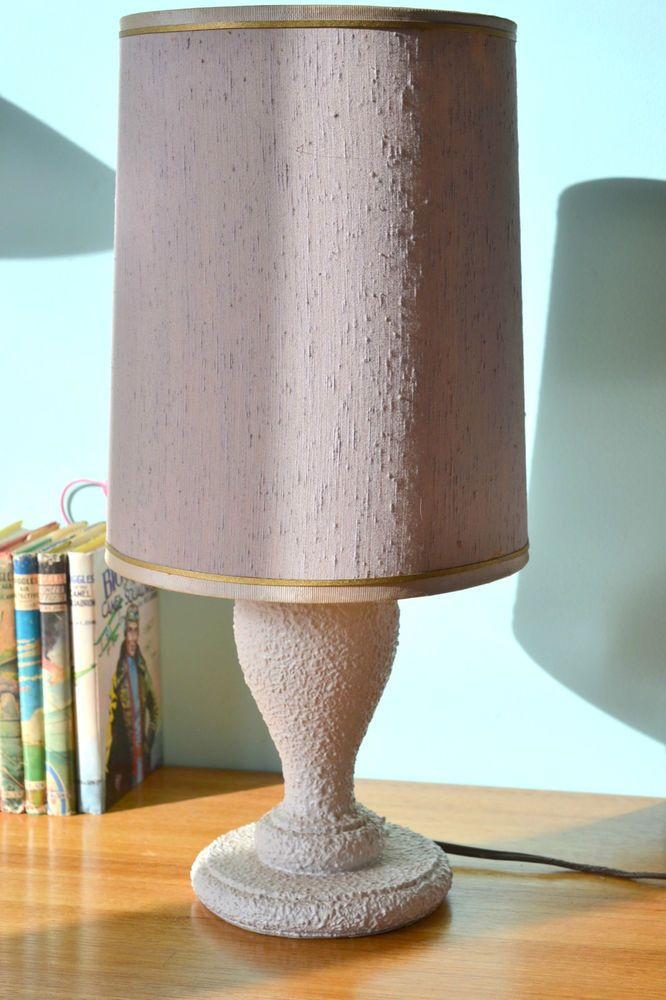 Vintage Retro Table Lamp Light Beige Gold Lamp Shade Mid Century 1960 S  Lighting