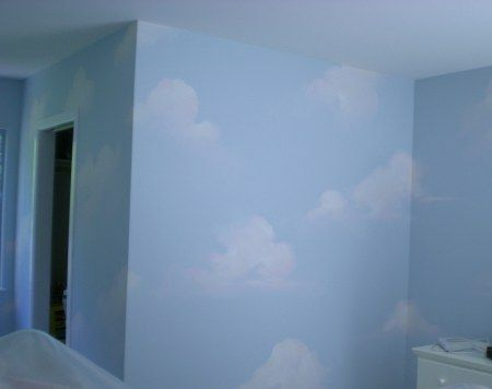 Walls White Ceiling Sky Blue With Sponge Clouds Home Wall