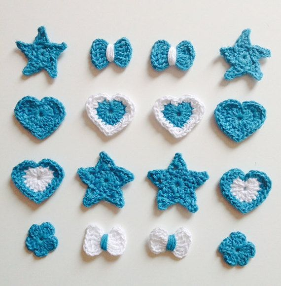 16 pcs crochet appliques Blue and white 100% Recycled by OhCaprice