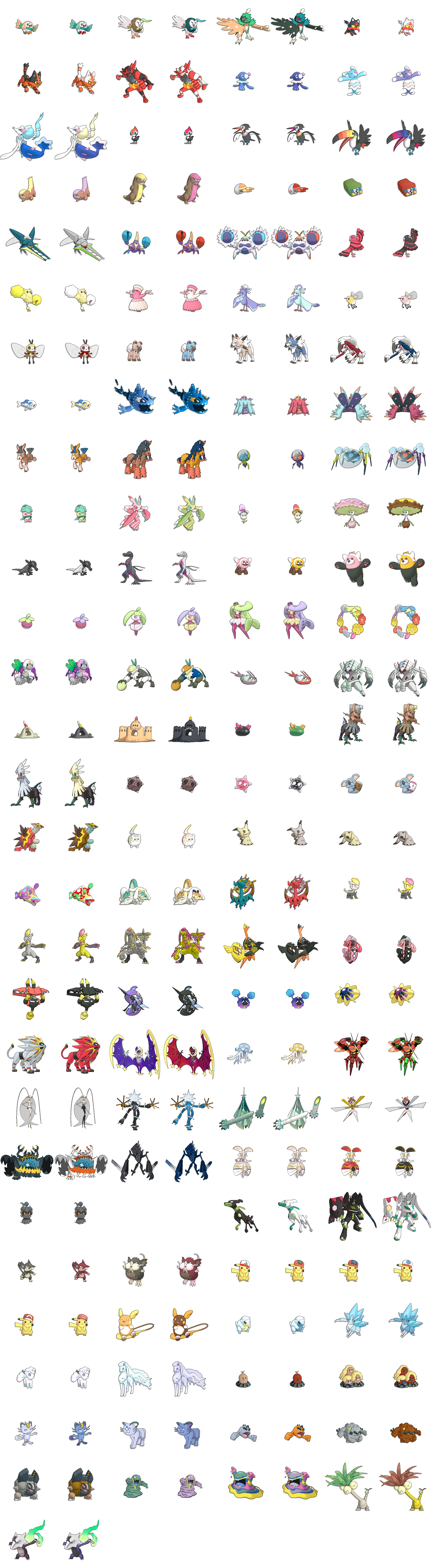 Gen 7 Sprite List WITH shiny forms (Excluding all Silvally forms
