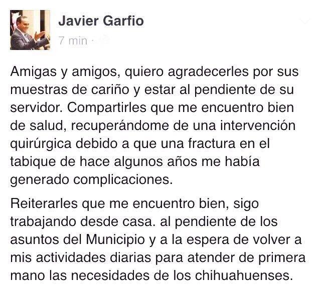 Agradece Garfio muestras de cariño y avisa que sigue al pendiente del Municipio desde su casa | El Puntero