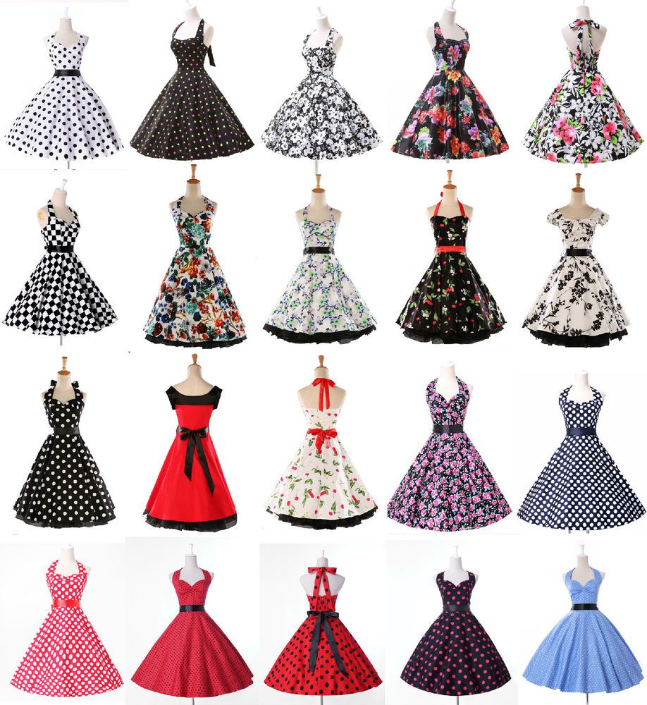 details zu multi vintage 50er 60er jahre kleider dirndl gothic petticoat pin up abendkleid. Black Bedroom Furniture Sets. Home Design Ideas