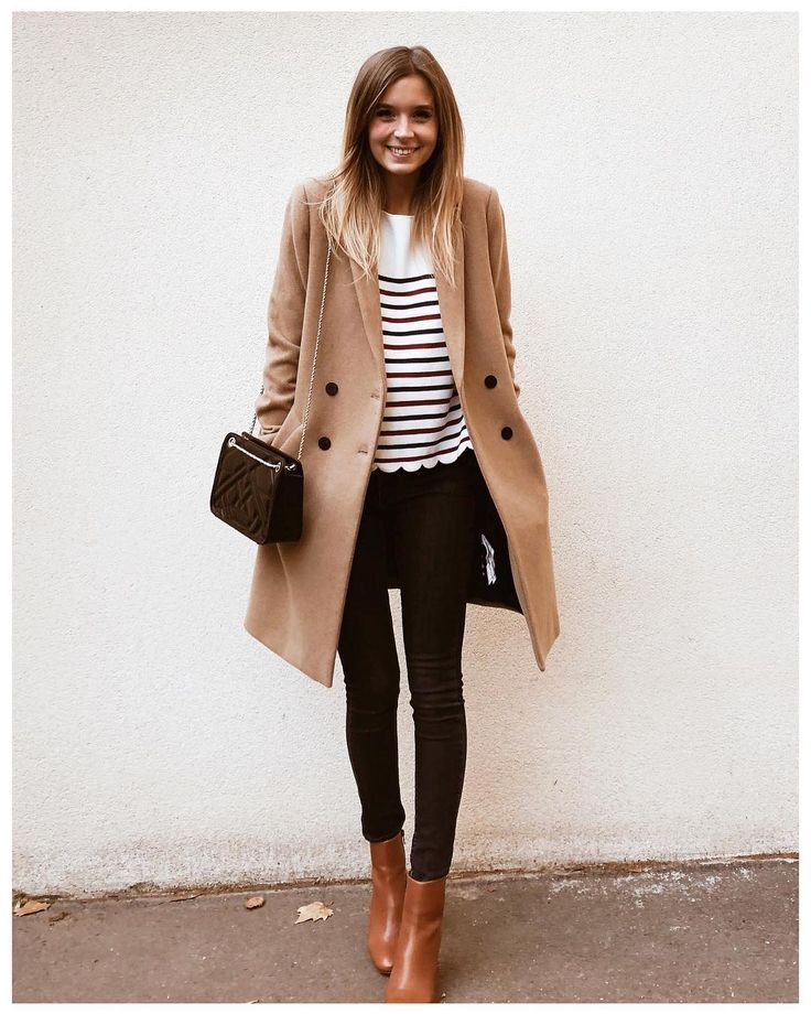 "Camille on Instagram: ""happy lundi � • manteau @zara (ancienne co) . • marinière Corentine, jean 2001 et boots Léa @sezane . • sac mini Belli @sezane"""