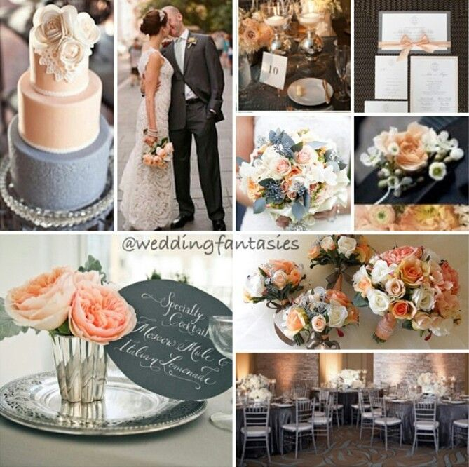 Peach And Grey Wedding Theme Wedding Theme Ideas Gray Weddings