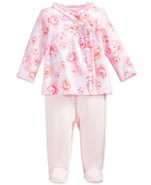 73c4724a2 First Impressions Baby Girls' 2-Pc. Rose-Print Top & Footed Leggings Set,  Only at Macy's - Pink 0-3 months