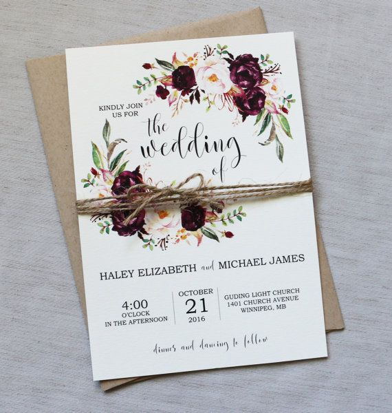5 Bohemian Home Decor Ideas Rustic Folk Weddings: Rustic Marsala Wedding Invitation, Burgundy Wedding