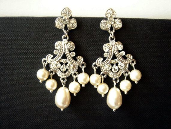 Saachi Art Deco Inspired Chandelier Pearls And Lace Wedding Earrings Vintage Style